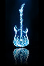 Electronic guitar flames is color blue and water reflection on a black background Royalty Free Stock Image