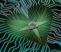 stock image of  Electronic heart concept made of circuits and one cpu