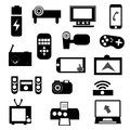 Electronic icon set of black devices illustrations Royalty Free Stock Image