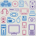 Electronic icon set vector Stock Photo