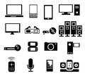 Electronic icons set of modern devices in black color Stock Images