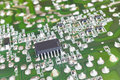 Electronic integrated circuitry macro detail. Technology backgro Royalty Free Stock Photo
