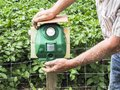 Electronic machine placed in front of a garden to scare away frighten not only birds but wild animals.