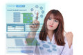 Electronic medical record female doctor using health system to search patient Royalty Free Stock Photo