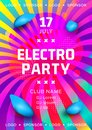 Electronic music festival poster design. Rainbow background Gradient fluid shapes. Futuristic geometric background