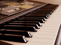 Electronic piano keyboard horizontal close up of Stock Photography
