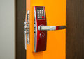 Electronic security door lock a photo of an Stock Image