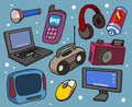 Electronic set flat hand drawn vector illustration Stock Photography