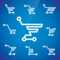 Electronic shopping cart illustration with blue background Royalty Free Stock Photos