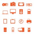 Electronic technology device icon complete collect this is collection with nice orange color Stock Photography