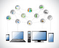 Electronics and Cloud glossy icon Stock Photo
