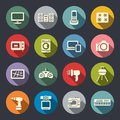 Electronics flat icon set Royalty Free Stock Image