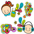 Electronics and kids Royalty Free Stock Images