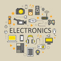 Electronics Technology Line Art Thin Icons Set with Computer and Gadgets Royalty Free Stock Photo