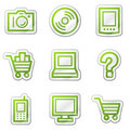 Electronics web icons, green contour sticker Stock Image