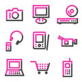 Electronics web icons, pink contour series Stock Image