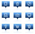 Electronics web icons set 1, blue speech bubbles Royalty Free Stock Image