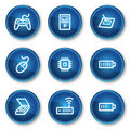 Electronics web icons set 2, blue circle buttons Royalty Free Stock Photos