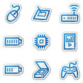 Electronics web icons set 2, blue contour sticker Stock Photography
