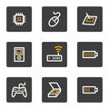 Electronics web icons set 2, grey buttons series Stock Photography