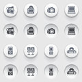 Electronics web icons on white buttons set vector for websites guides booklets Stock Photos