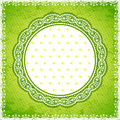 Elegan Green lace frame with polka dot background Royalty Free Stock Images