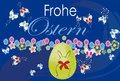 Elegance background easter frohe ostern text with egg and floral greeting card frohes and butterfly Royalty Free Stock Photos