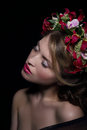 Elegance bliss dreamy woman with wreath of flowers Royalty Free Stock Image