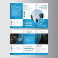 Elegance blue polygon elegance business trifold business Leaflet Brochure Flyer template vector minimal flat design