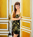 Elegance fashion woman in hotel room door Stock Photos