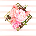 Elegance flowers bouquet of color roses and tulips. Composition with blossom flowers on the geometric design element Royalty Free Stock Photo
