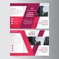 Elegance pink purple geometric elegance business trifold business Leaflet Brochure Flyer template vector minimal flat design