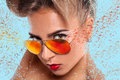 Elegance portrait of woman in sunglasses with abstractions Stock Photos