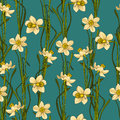 Elegance Seamless pattern with flowers daffodils, vector floral illustration in vintage style. Blue-green background