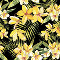 Elegance seamless pattern in vintage style with Plumeria flowers. EPS 10