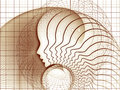 Elegance of soul geometry series artistic background made profile lines human head for use with projects on education science Royalty Free Stock Photography
