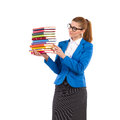 Elegance woman holding stack of books Royalty Free Stock Photo
