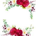 Elegant autumn round floral bouquet vector design frame Royalty Free Stock Photo