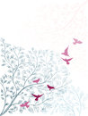 Elegant background with branch of tree and birds vertical floral Stock Photos