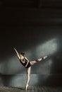 Elegant ballet dancer stretching in the dark lighted room