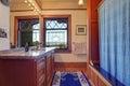 Elegant bathroom decor with royal blue rug athroom interior Royalty Free Stock Photo