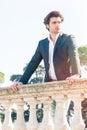 Elegant beautiful business pensive italian man. Charming prince