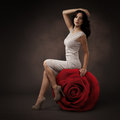 Elegant Beautiful Woman And Big Red Rose Royalty Free Stock Photo
