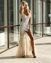 Elegant beautiful woman with blond hair in luxurious sequins dress fashion outdoor photo of and silver accessories posing Stock Photo