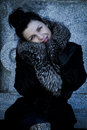 Elegant beautiful woman in winter beauty fashion model girl in a fur hat russianl stylish young portrait Stock Photos