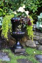 Elegant begonia planter urn filled with white begonias Stock Images