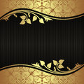 Elegant black Background with floral golden Borders Royalty Free Stock Photo