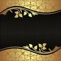 Elegant black Background with floral golden Borders