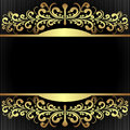 Elegant black background with royal golden borders is presented Stock Image
