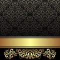 Elegant black ornamental Background with golden Ribbon and floral Border Royalty Free Stock Photo